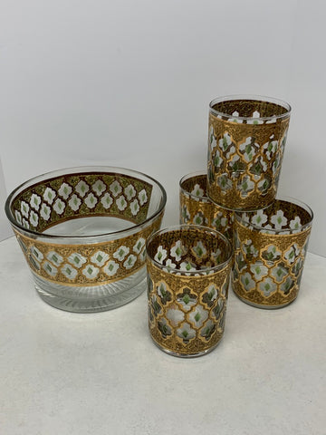 Culver Valencia Ice Bucket & Four Rocks Glass Set - 22K Gold Trim