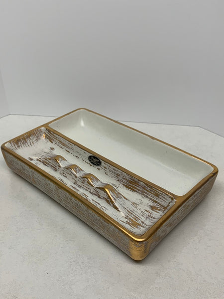 Haeger Gold Tweed Glaze Ashtray 22K Gold Accents