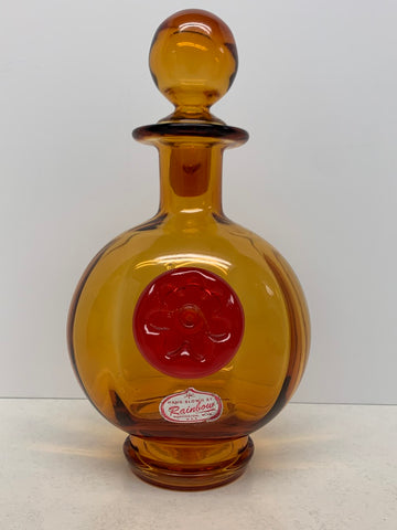Rainbow Glass Decanter with Applied Flower Medallion