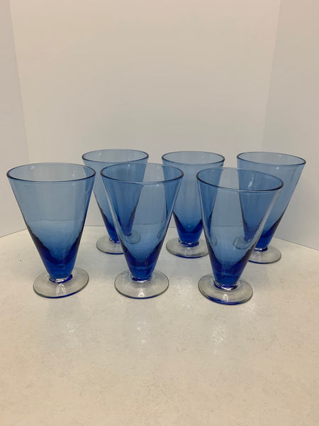 Blenko 1940's Pre-Designer #570G Glass Set of 6 - Sky Blue / Crystal