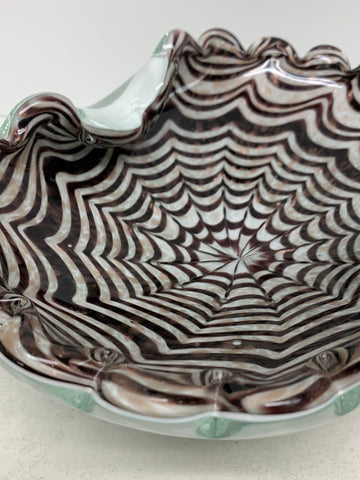 "Barovier Toso Murano Glass ""Spiderweb"" Bowl"
