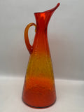 Blenko #976 Pitcher - Tangerine Crackle