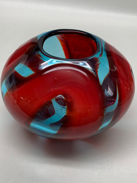 Blenko Glass Prototype Artist Proof Vase - Ice Blue & Cherry - 2019
