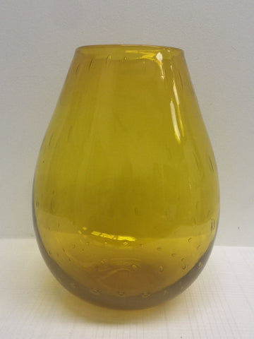 Blenko Glass #6742 Controlled Bubble Vase  - Lemon - Joel Myers - 1967