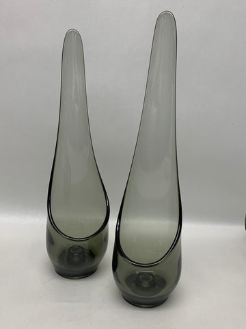 Viking Glass Candle Holder Pair