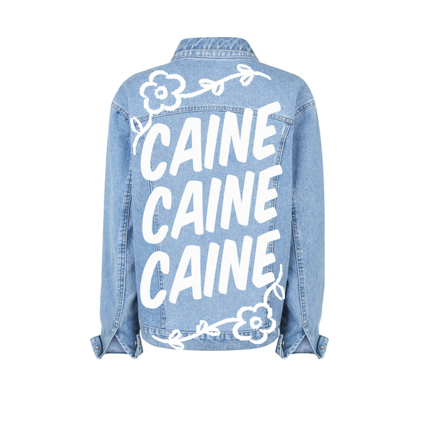 """CAINE CAINE CAINE"" HAND-PAINTED DENIM JACKET"
