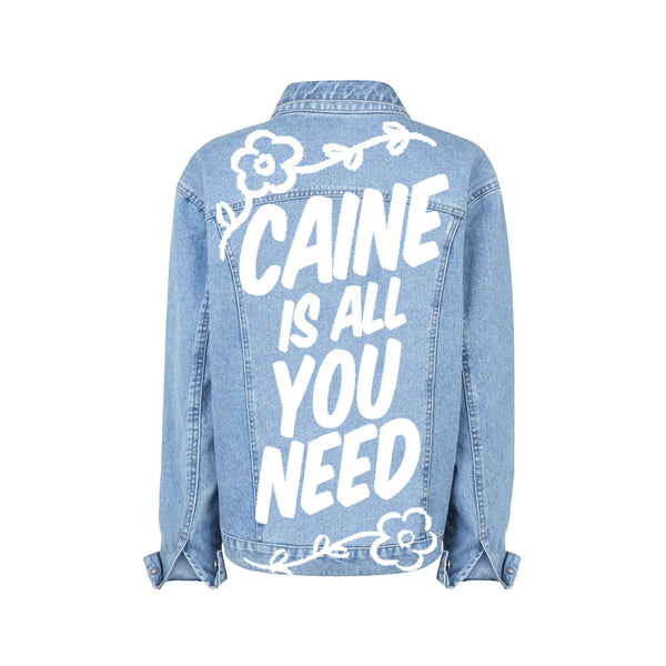 """CAINE IS ALL YOU NEED"" HAND-PAINTED DENIM JACKET"