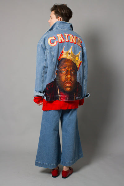 """Big Poppa"" Hand-Painted Denim Jacket"