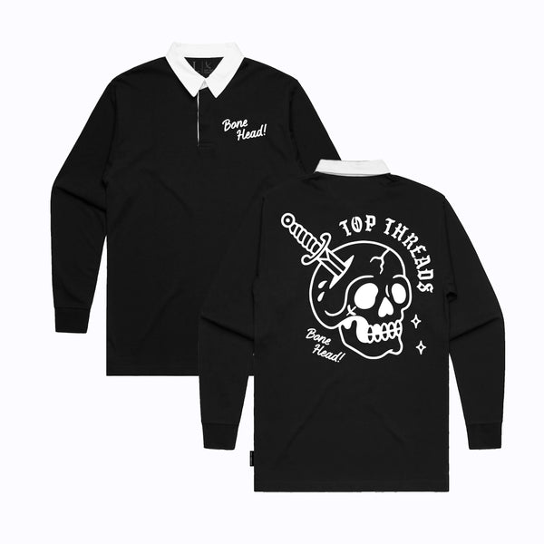 BONE HEAD HEAVY LONG SLEEVE POLO - BLACK