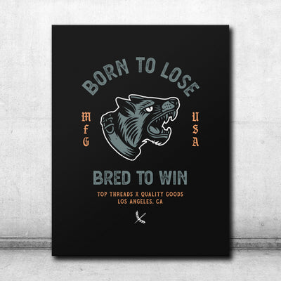 Bred To Win Canvas - Black