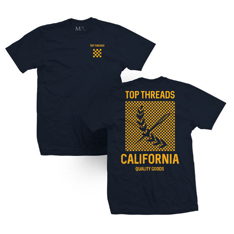 Check Tee - Navy / Yellow Gold