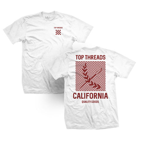 Check Tee - White/Burgundy
