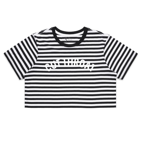 Cut Throat Crop Tee - Black / White