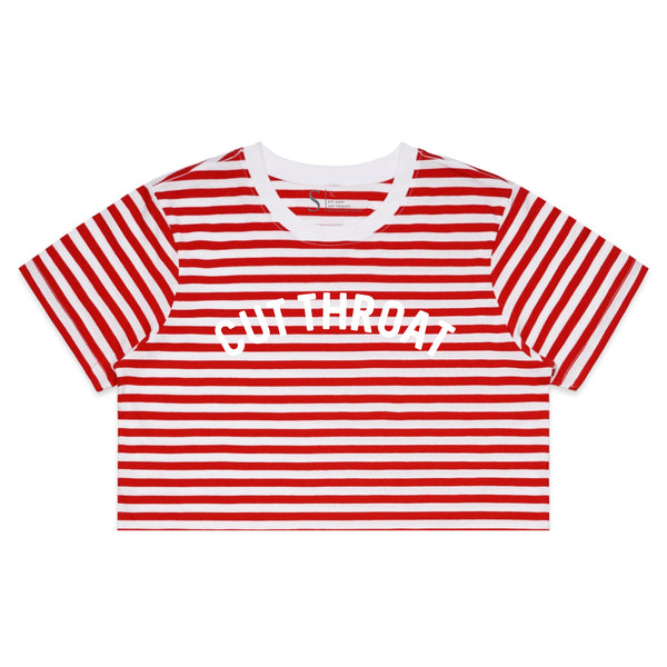 Cut Throat Crop Tee - White / Red