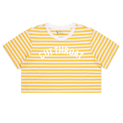 Cut Throat Crop Tee - White / Yellow