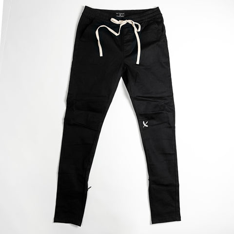 Premium Zip Closure Joggers - Black