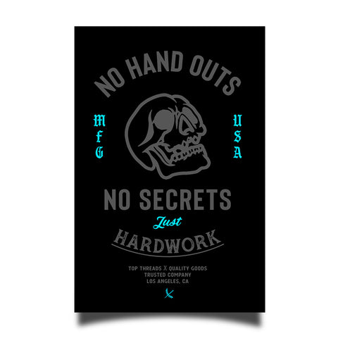 No Hand Outs Sticker - Black/Grey