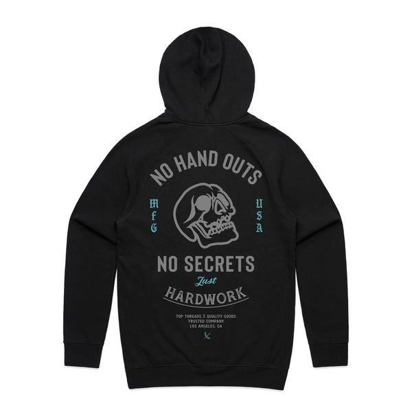 NO HAND OUTS HOODIE - BLACK