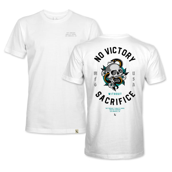 NO VICTORY TEE - WHITE/YELLOW