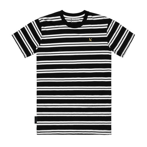 IMPERIAL PIRATE TEE - BLACK/WHITE STRIPE (GOLD IMPERIAL)