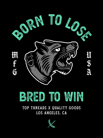 Bred To Win Poster - Black/Teal