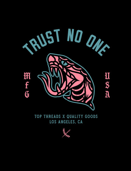 Trust No One Poster - Pink/Teal