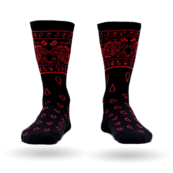 Paisley Socks - Black/Red