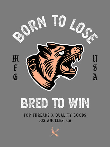 Bred To Win Poster - Grey/Salmon