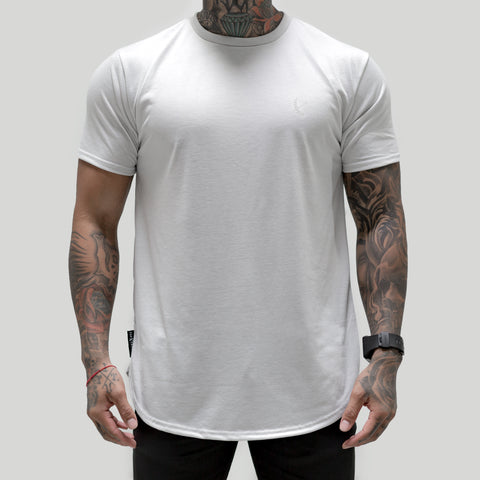 Tonal Scallop Tees - Stone Grey