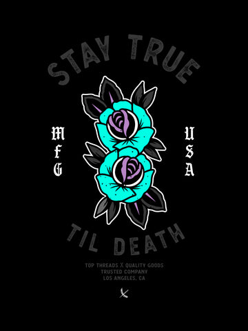Stay True Poster - Black / Teal