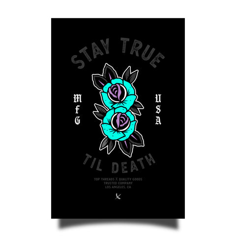 Stay True Sticker - Black / Teal