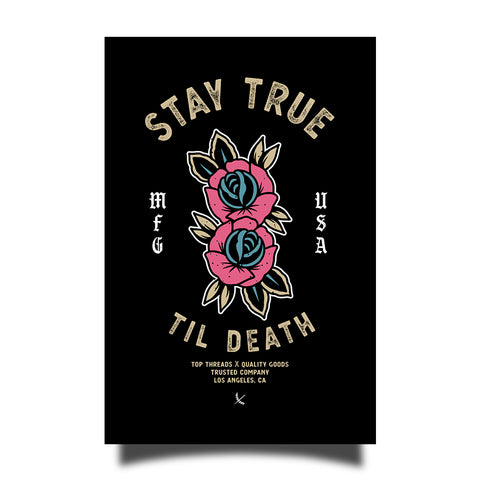 Stay True Sticker - Black / Tan