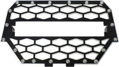 "MODQUAD-2-PANEL FRONT GRILL BLACK/SILVER W/10"" LIGHT BAR pn# RZR-FGLS-1K-BLK - planetrzr.com"
