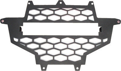 MODQUAD-2-PANEL FRONT GRILL BLACK/SILVER W/LIGHT MOUNT pn# RZR-FGL- XP - planetrzr.com