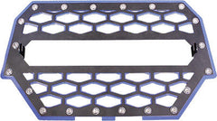MODQUAD-2-PANEL FRONT GRILL BLACK/BLUE W/LIGHT MOUNT pn# RZR-FGL-1K-BL - planetrzr.com
