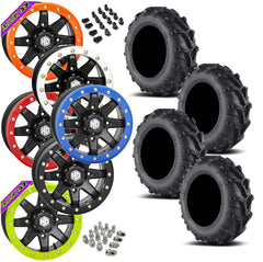 EFX Motomax STI HD9 Black Beadlock Tire Wheel Kit 27-10-14