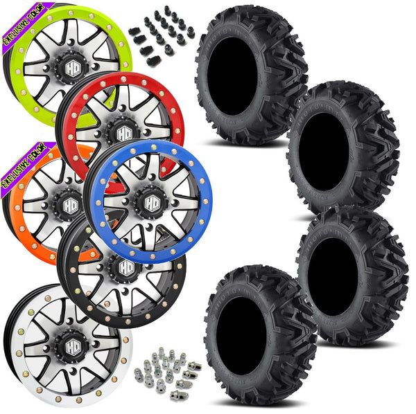 EFX MotoMTC STI HD9 Machined Beadlock Tire Wheel Kit 28-10-14