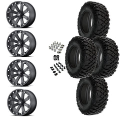 "MSA Black Kore 14"" Wheels 28"" Crawler XR Tires"