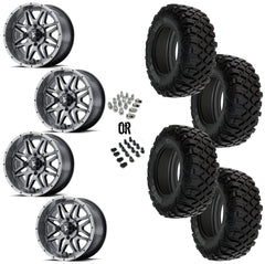 "MSA Dark Tint Vibe 14"" Wheels 28"" Crawler XR Tires"
