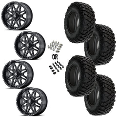 "MSA Black Vibe 14"" Wheels 28"" Crawler XR Tires"