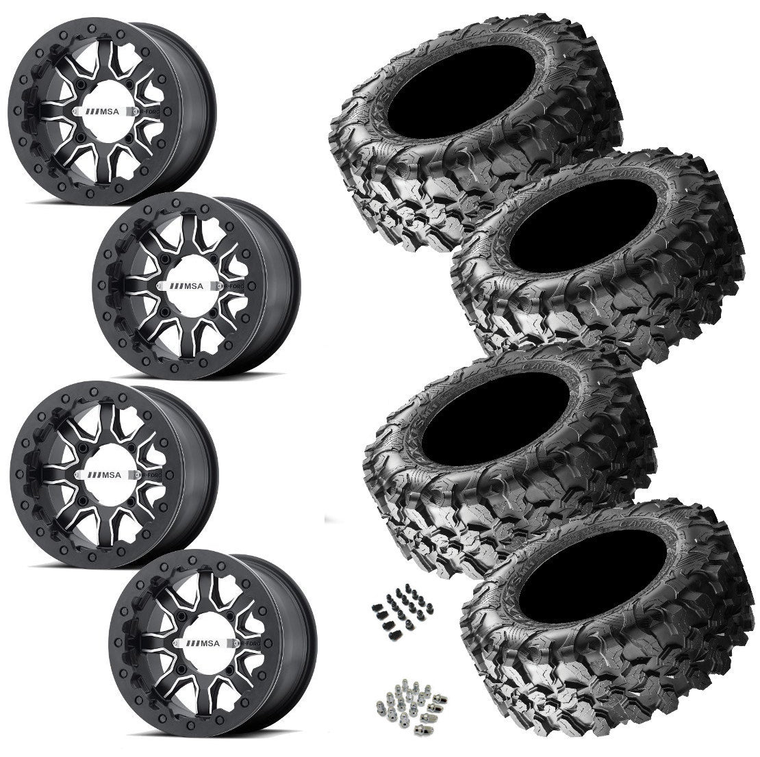 MSA R Forged F1 Beadlock Maxxis Carnivore Wheel and Tire Package 4/156