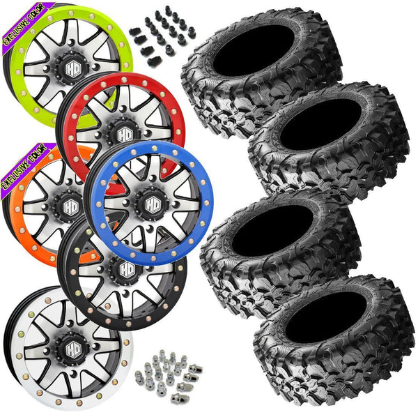 Maxxis Carnivore STI HD9 Machined Beadlock Tire Wheel Kit 28-10-14