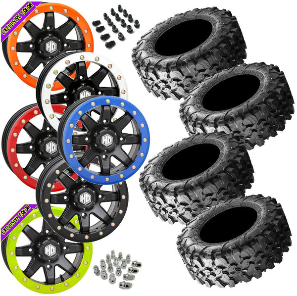 Maxxis Carnivore STI HD9 Black Beadlock Tire Wheel Kit 30-10-14