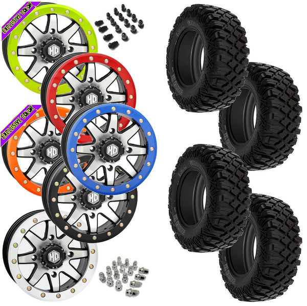 Pro Armor Crawler XR STI HD9 Machined Beadlock Tire Wheel Kit 28-10-14