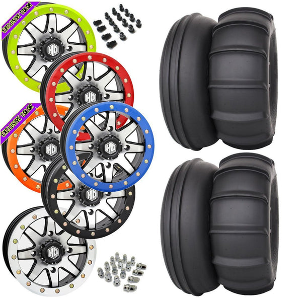 STI Sand Drifter STI HD9 Machined Beadlock Tire Wheel Kit 28-13-14