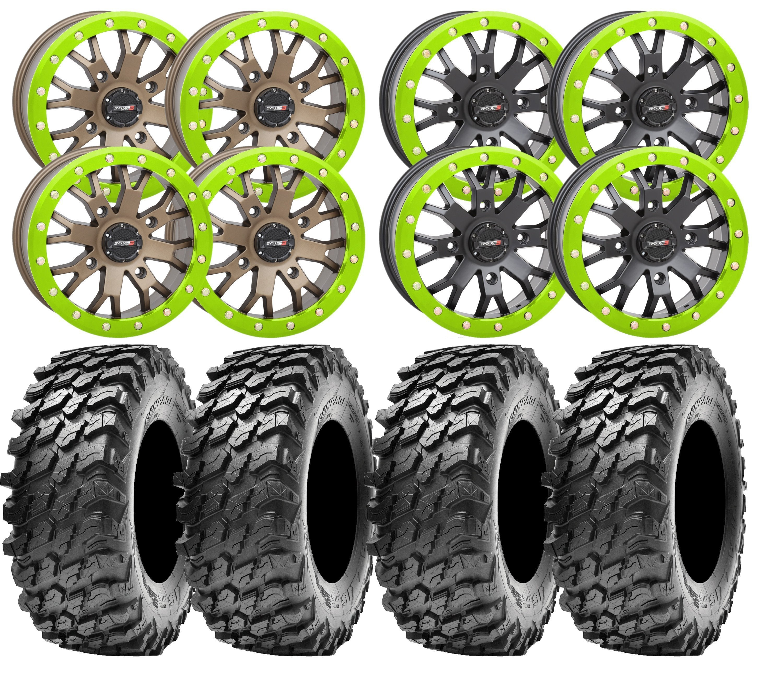 System3 Sb 4 And Maxxis Rampage Utv Wheel And Tire Kit W Custom Lime Planetsxs Com