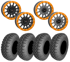 System3 SB-5 Can-Am X3 ORANGE Beadlock Wheel AMS M1 EVIL Tire Kit