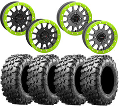 System 3 SB-5 LIME GREEN Beadlock Wheel and Maxxis Carnivore Tire Kit
