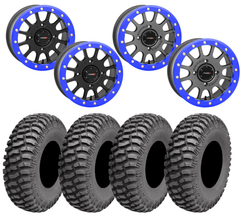 System3 SB-5 Honda Talon BLUE Beadlock Wheel AMS M1 EVIL Tire Kit