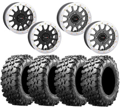 System 3 SB-5 WHITE Beadlock Wheel and Maxxis Carnivore Tire Kit
